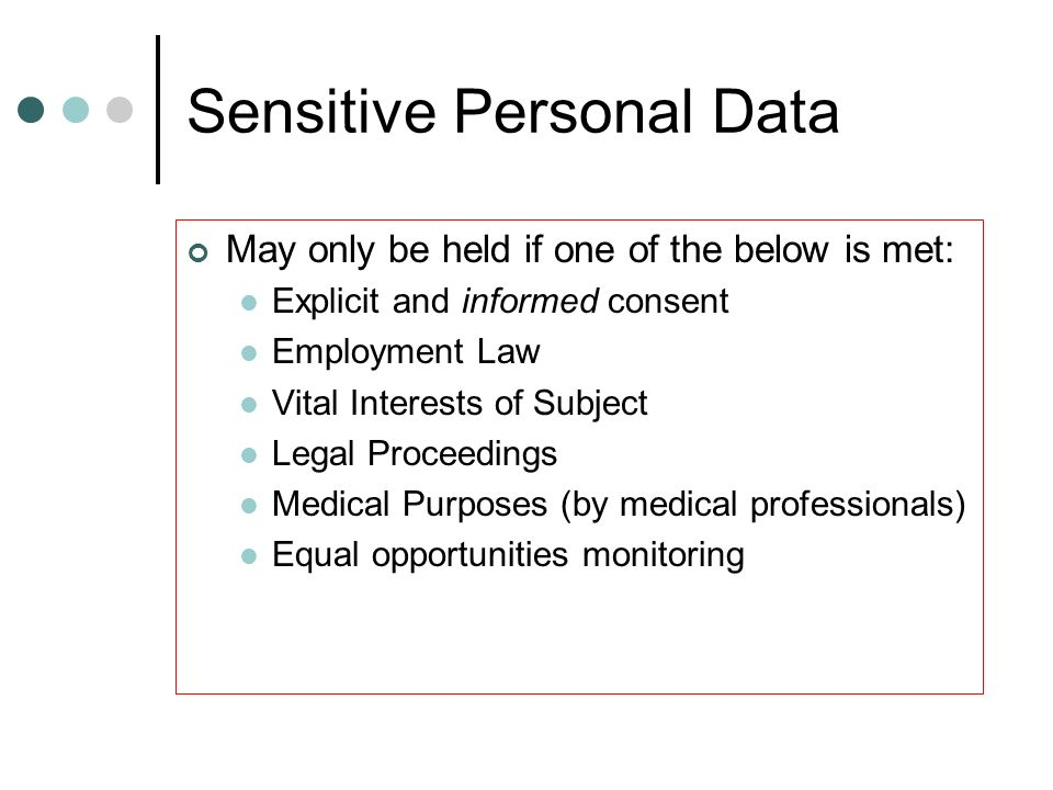 Sensitive Personal Data