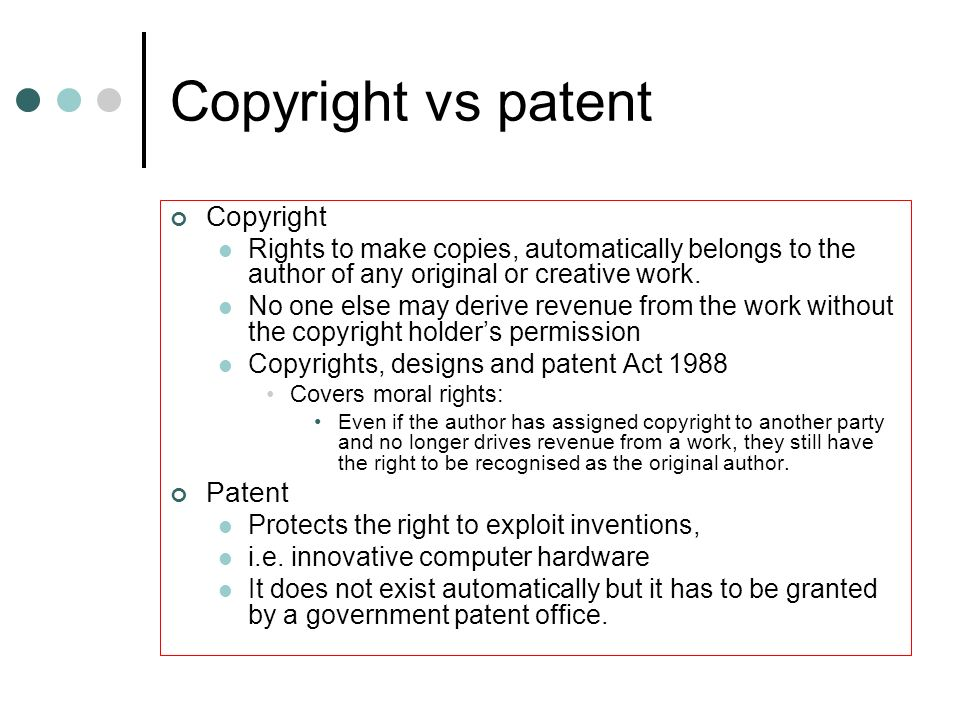 Copyright vs patent Copyright Patent