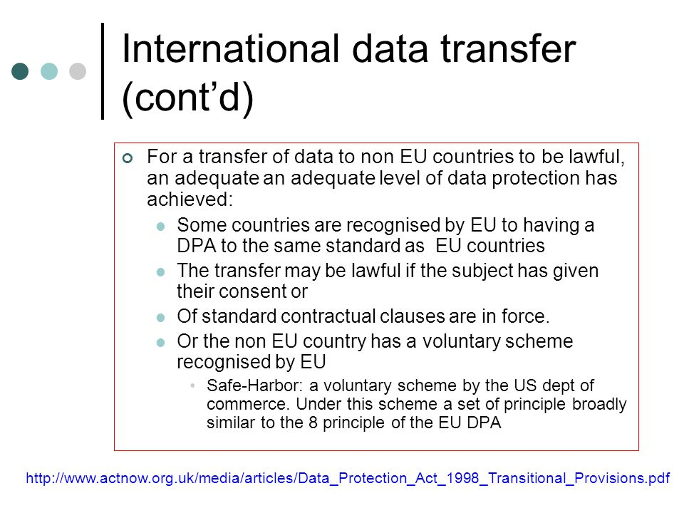 International data transfer (cont'd)
