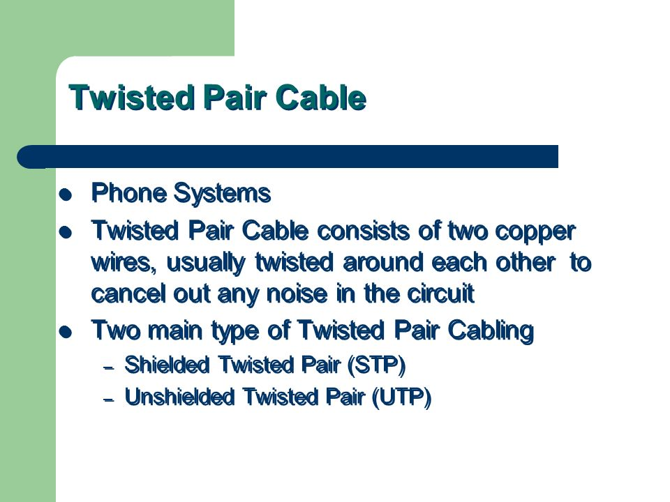 Twisted Pair Cable Phone Systems