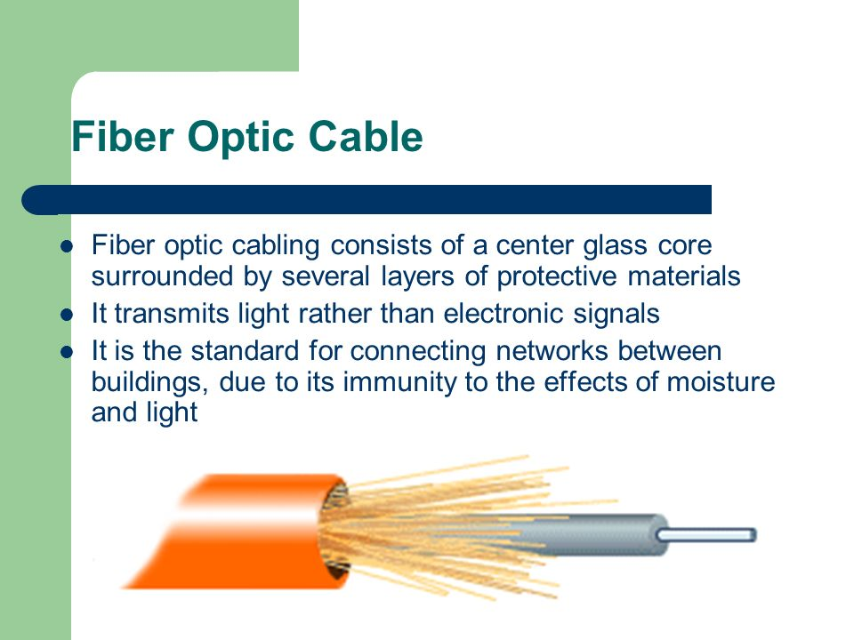 Fiber Optic Cable Fiber optic cabling consists of a center glass core surrounded by several layers of protective materials.