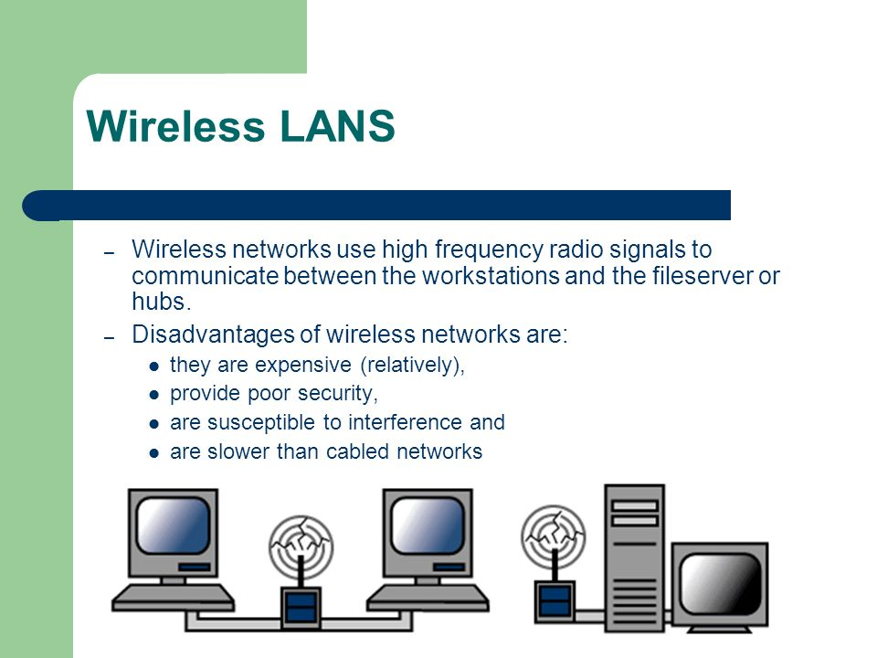 Wireless LANS Wireless networks use high frequency radio signals to communicate between the workstations and the fileserver or hubs.