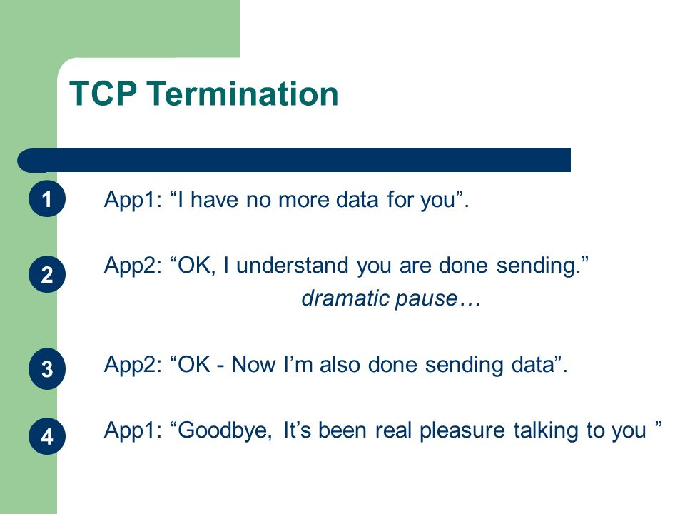 TCP Termination 1 App1: I have no more data for you .