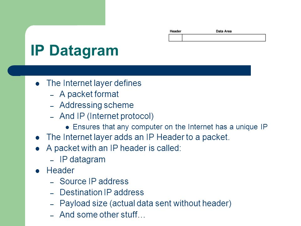 IP Datagram The Internet layer defines A packet format