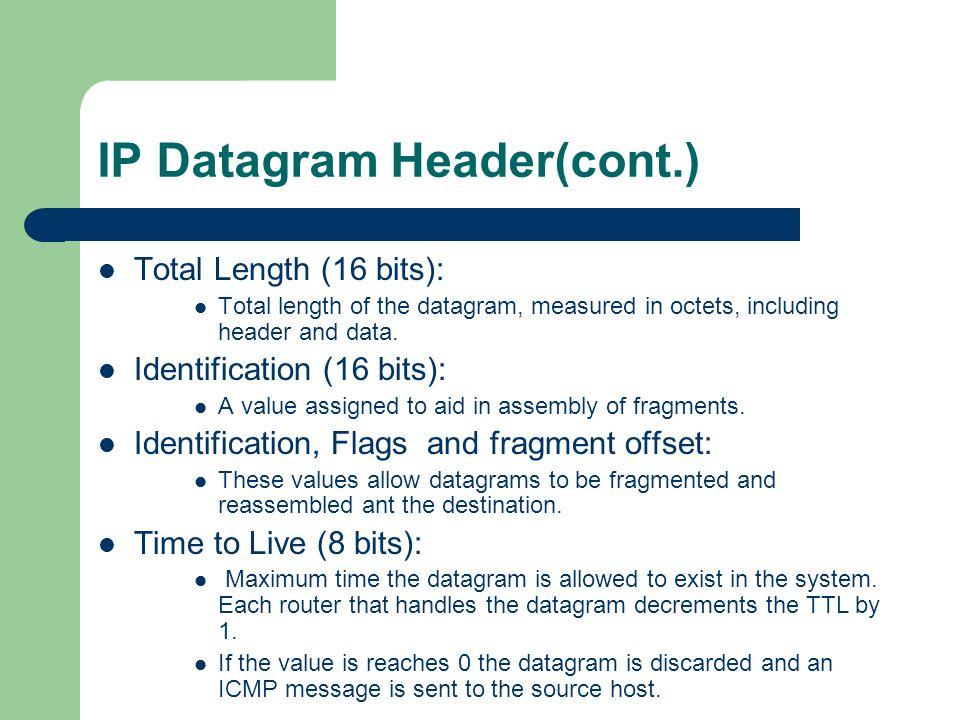 IP Datagram Header(cont.)
