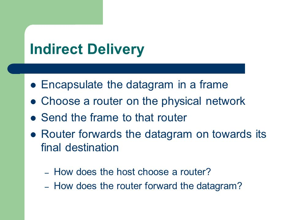Indirect Delivery Encapsulate the datagram in a frame