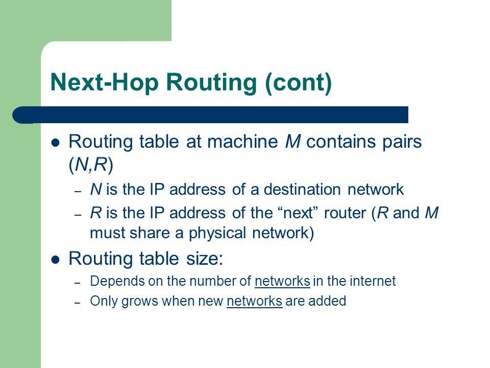 Next-Hop Routing (cont)