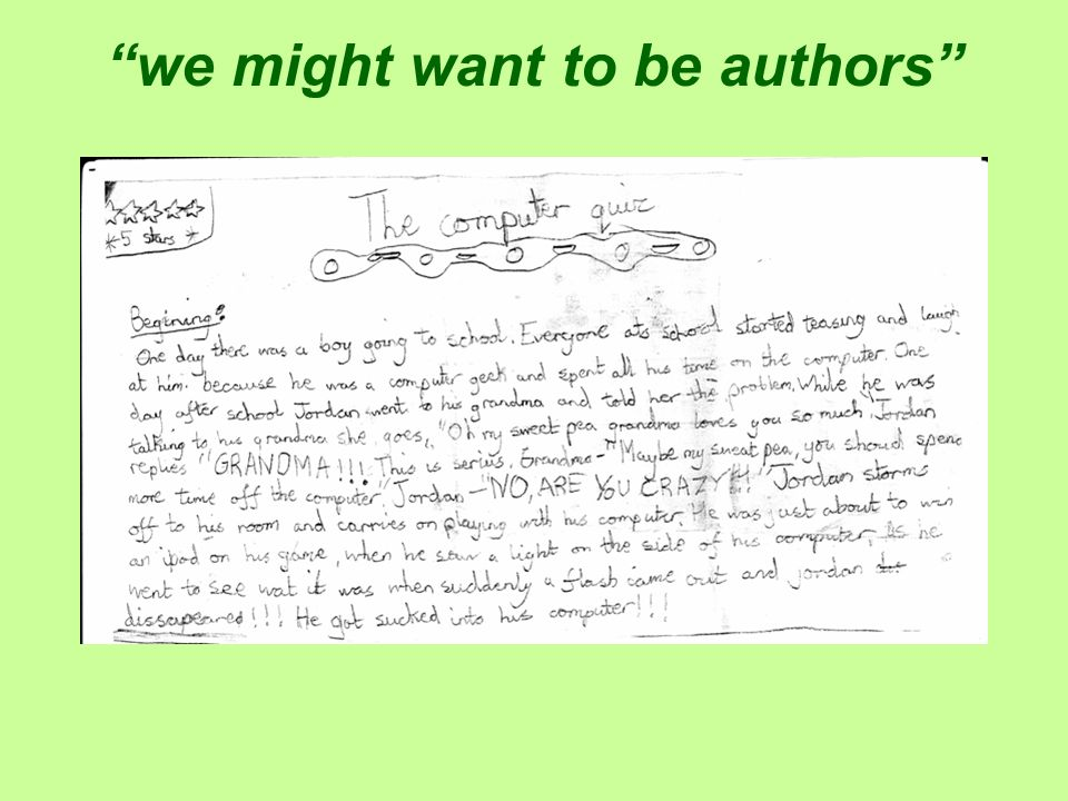 we might want to be authors