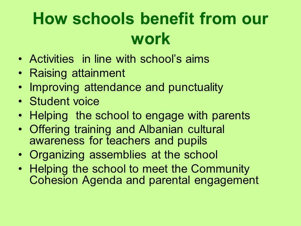 How schools benefit from our work