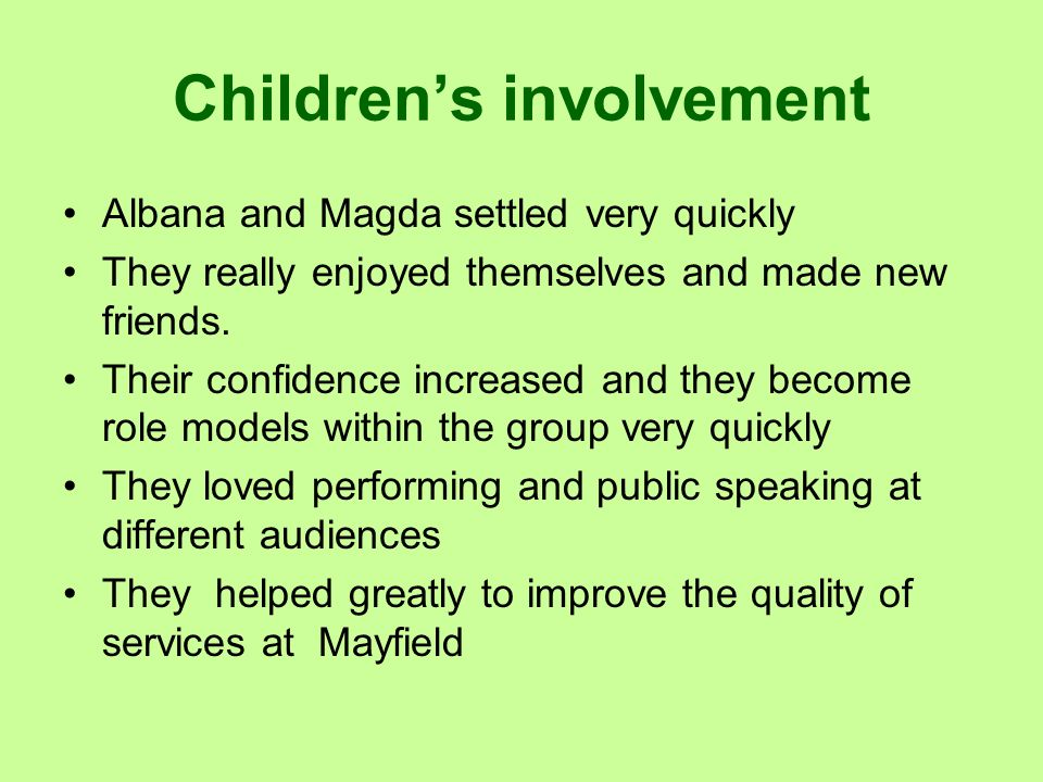 Children's involvement
