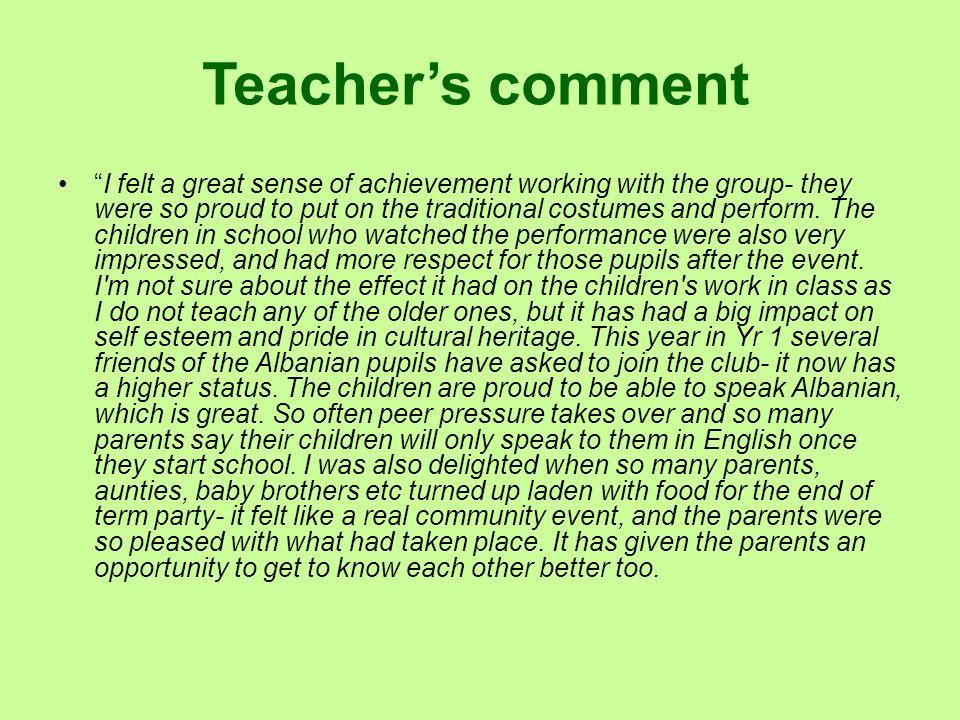 Teacher's comment