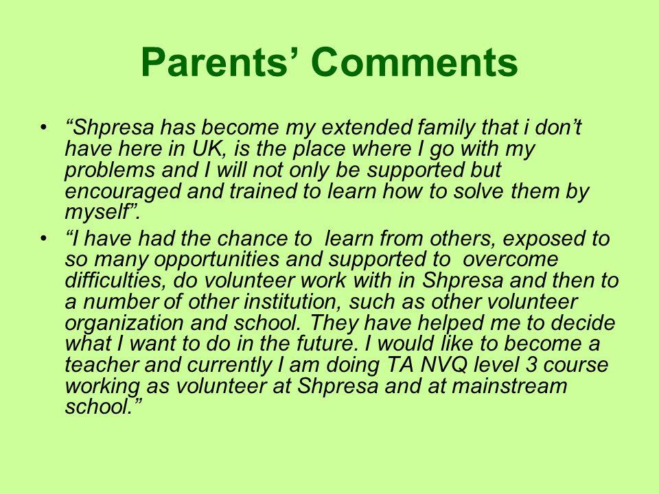Parents' Comments