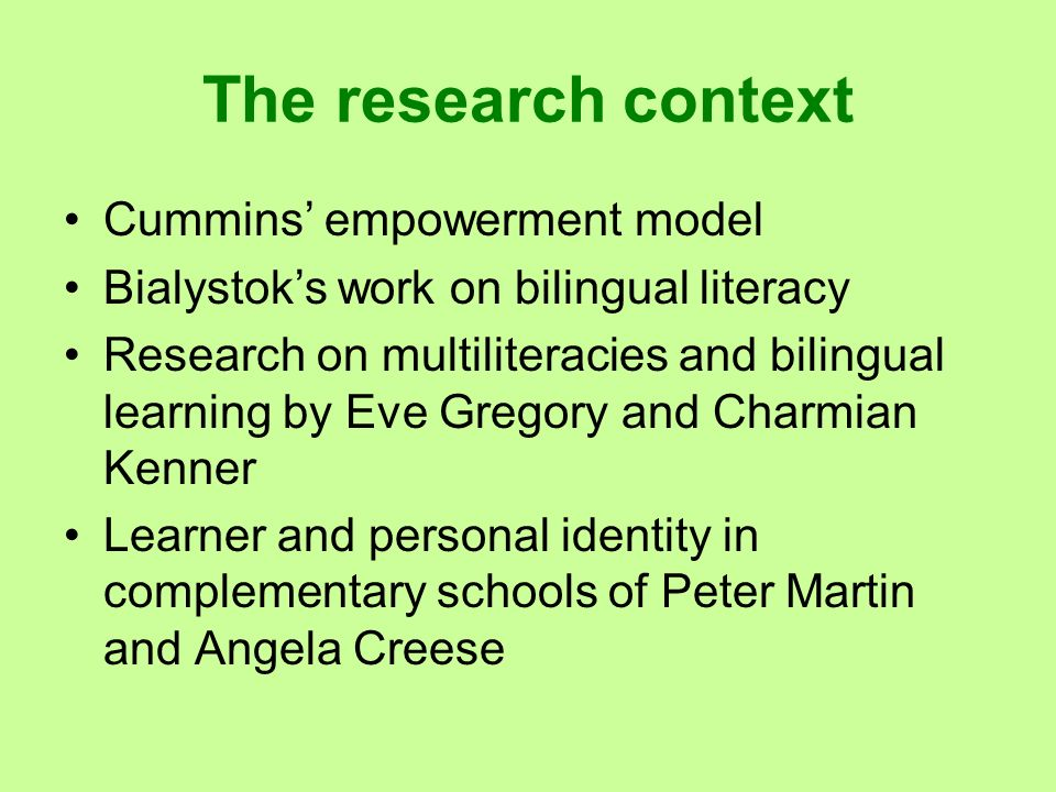 The research context Cummins' empowerment model