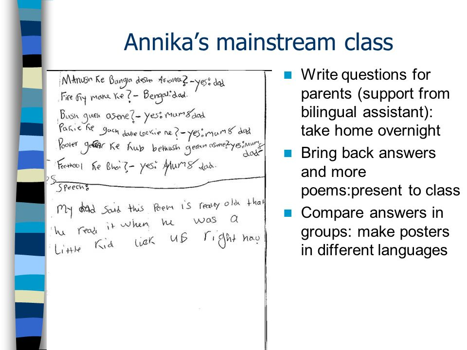 Annika's mainstream class