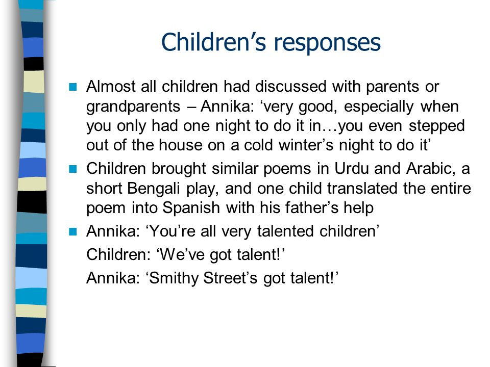 Children's responses