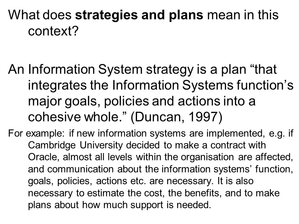 What does strategies and plans mean in this context