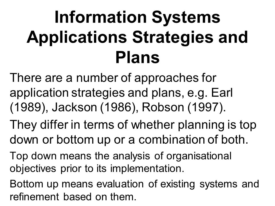 Information Systems Applications Strategies and Plans