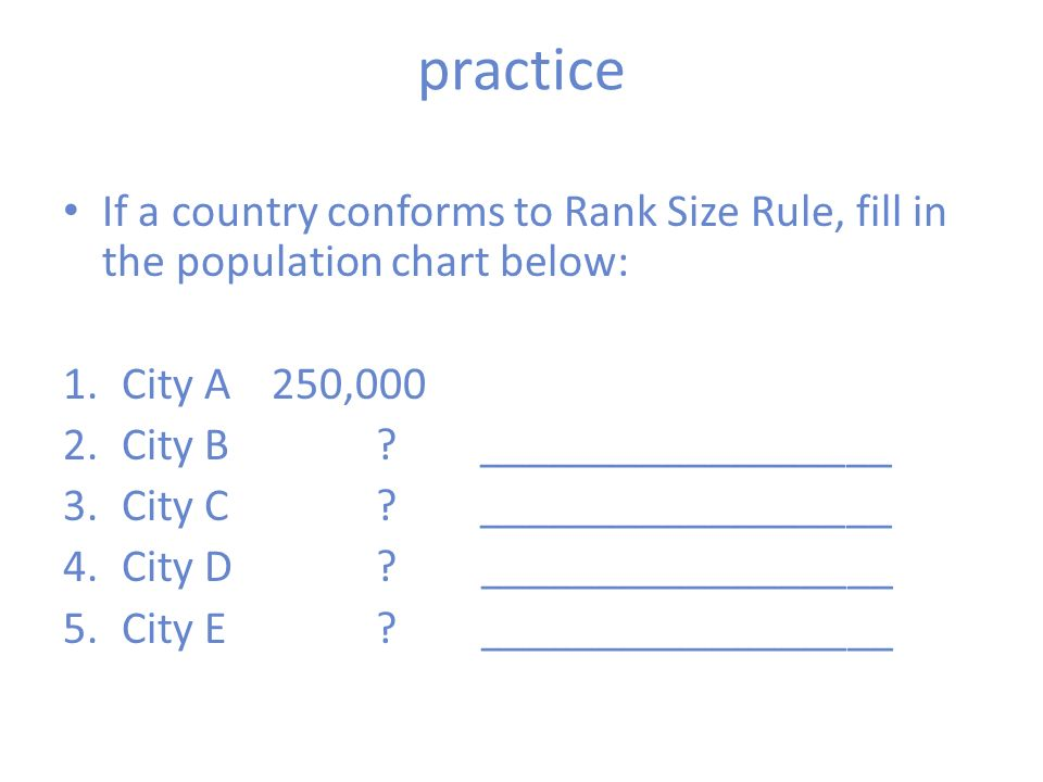 Rank Size Rule And Primate Cities - ppt download