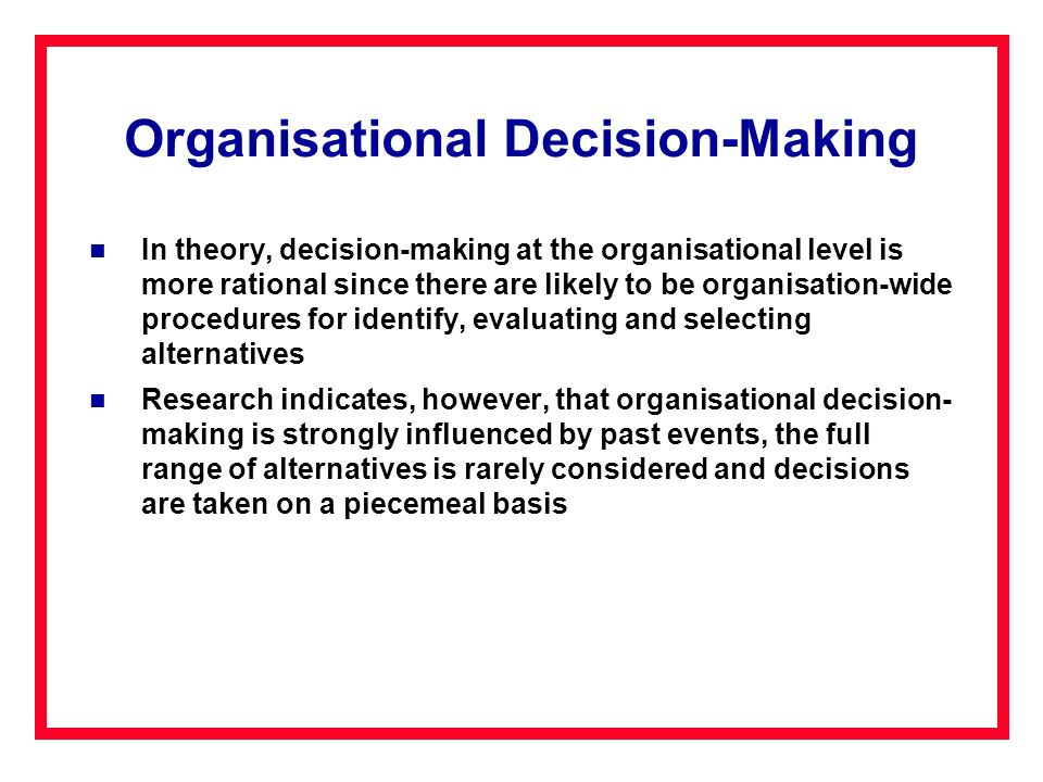 Organisational Decision-Making