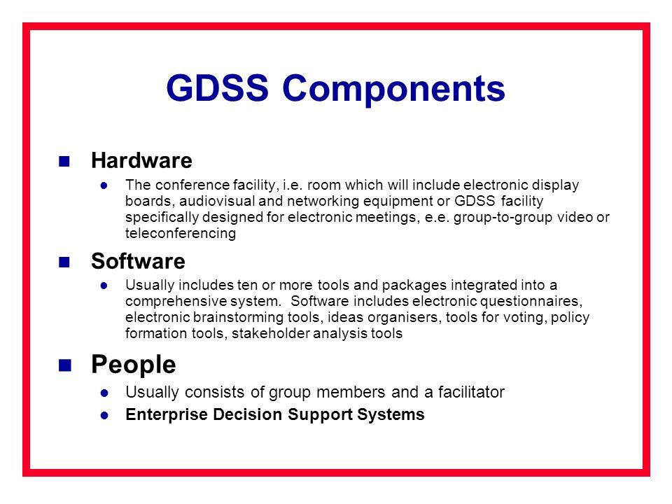 GDSS Components People Hardware Software