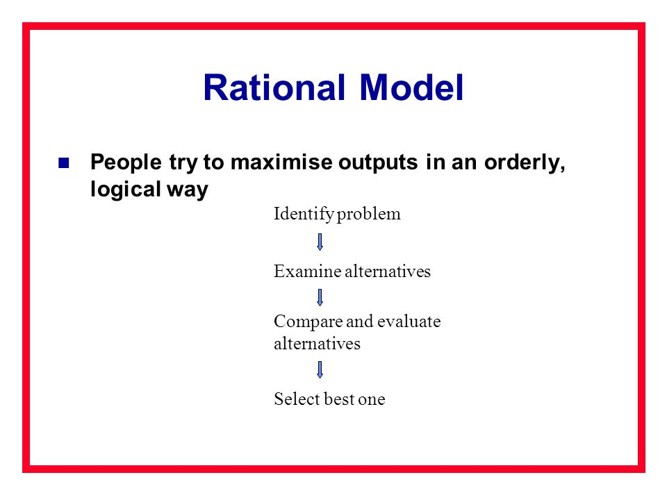 Rational Model People try to maximise outputs in an orderly, logical way. Identify problem. Examine alternatives.