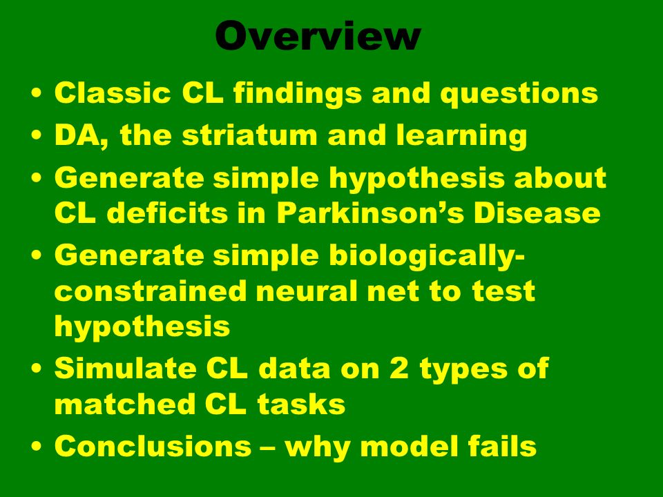 Overview Classic CL findings and questions
