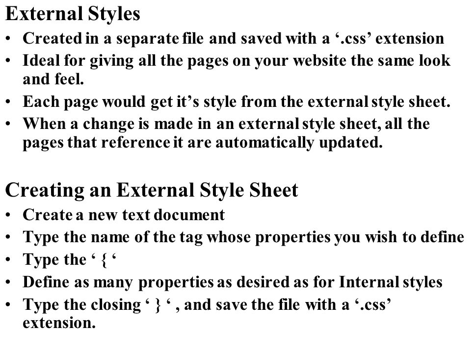 Creating an External Style Sheet