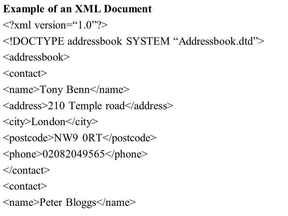 Example of an XML Document
