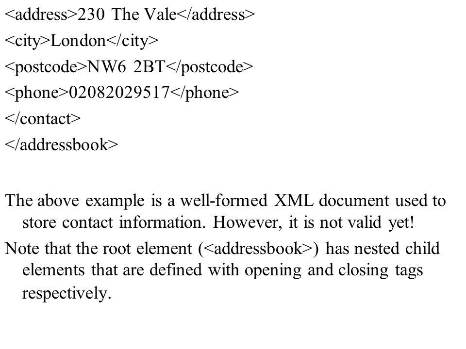 <address>230 The Vale</address>