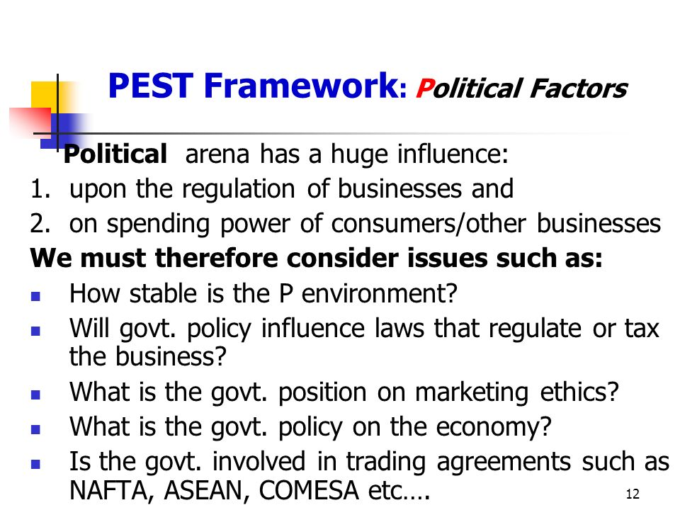 PEST Framework: Political Factors