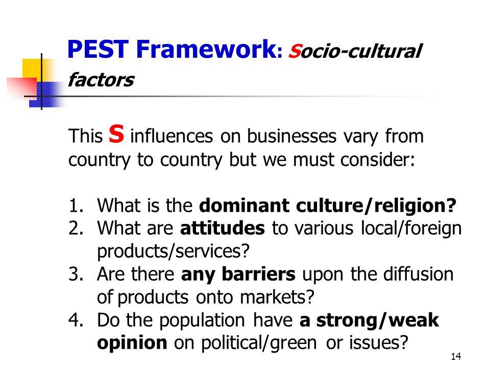 PEST Framework: Socio-cultural factors