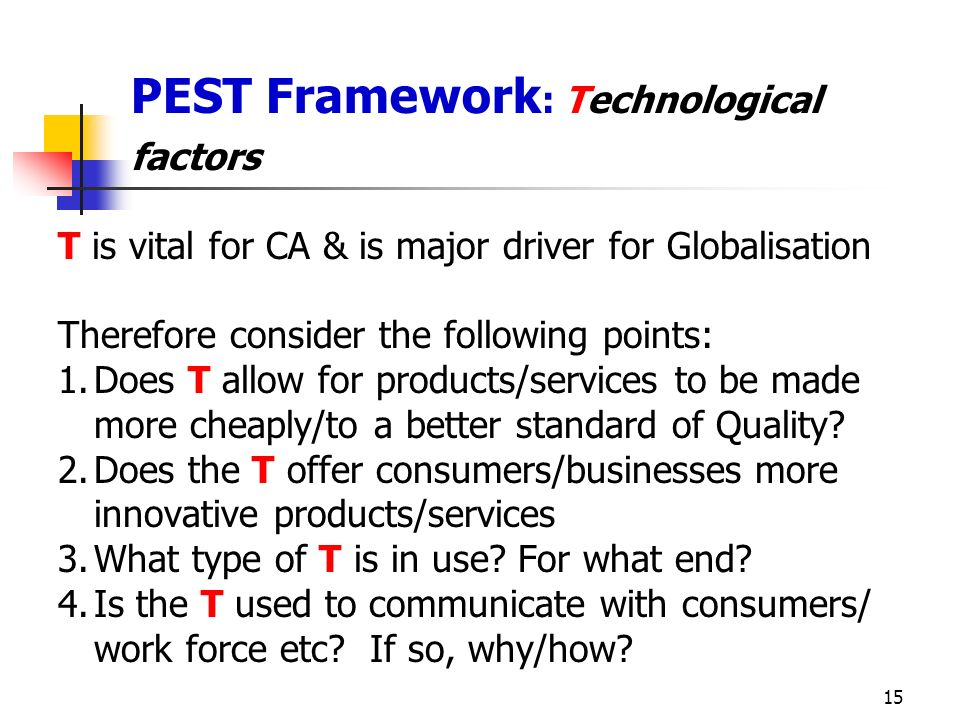 PEST Framework: Technological factors