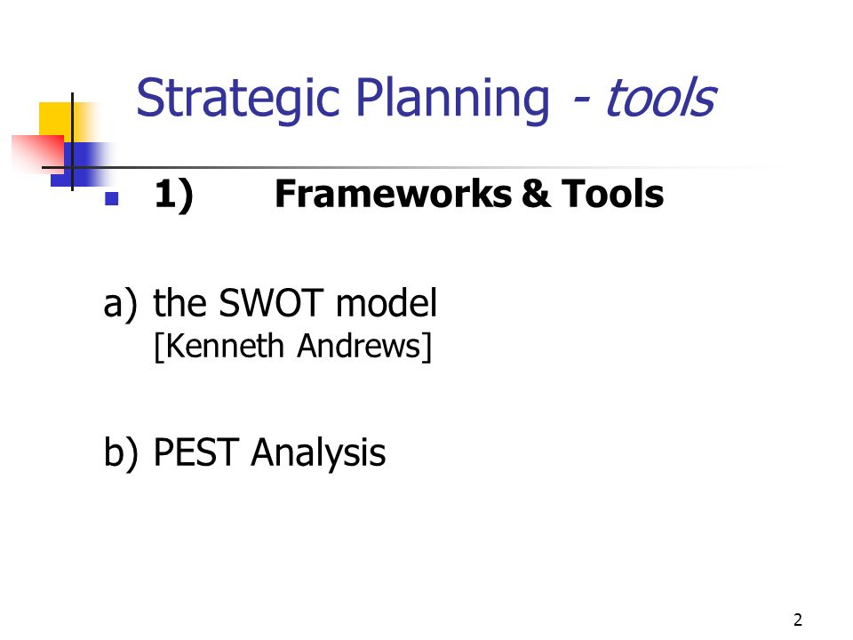 Strategic Planning - tools
