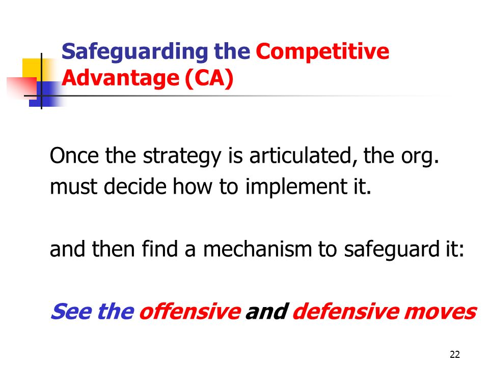 Safeguarding the Competitive Advantage (CA)