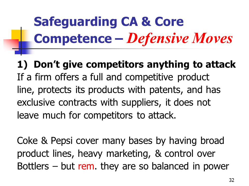 Safeguarding CA & Core Competence – Defensive Moves