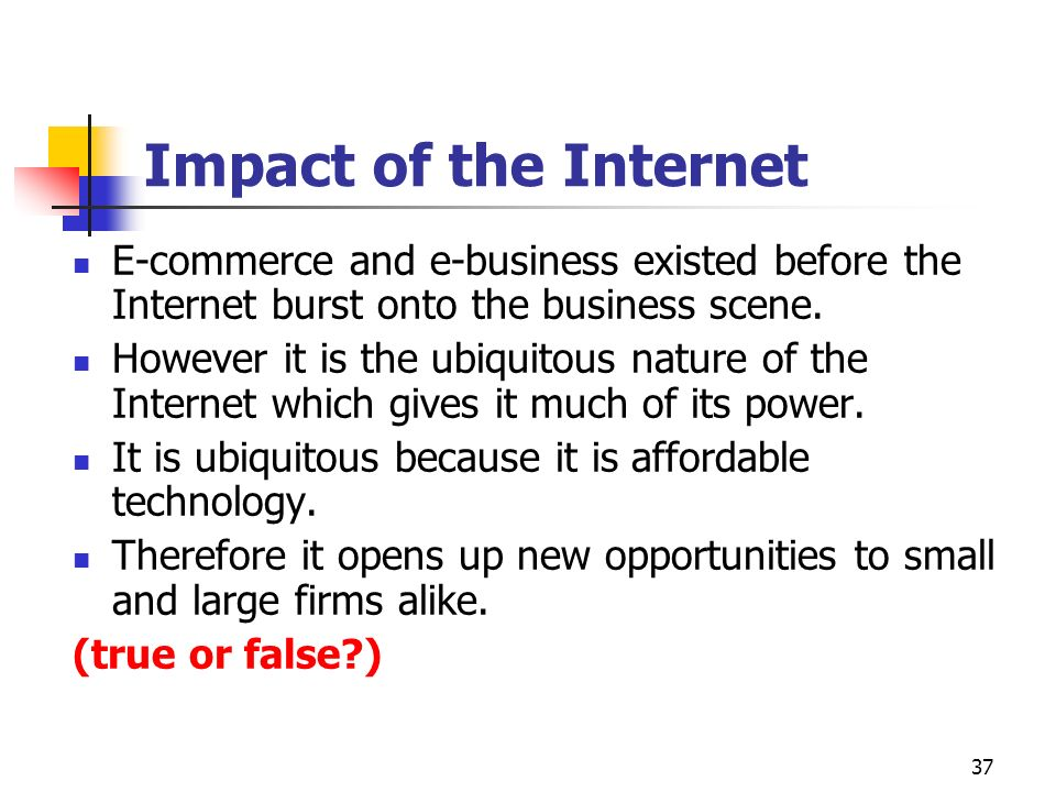 Impact of the Internet E-commerce and e-business existed before the Internet burst onto the business scene.