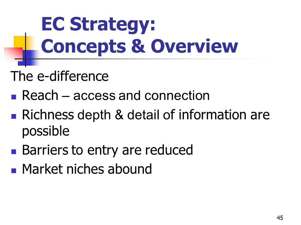 EC Strategy: Concepts & Overview