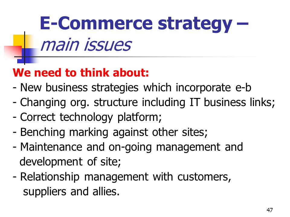 E-Commerce strategy – main issues