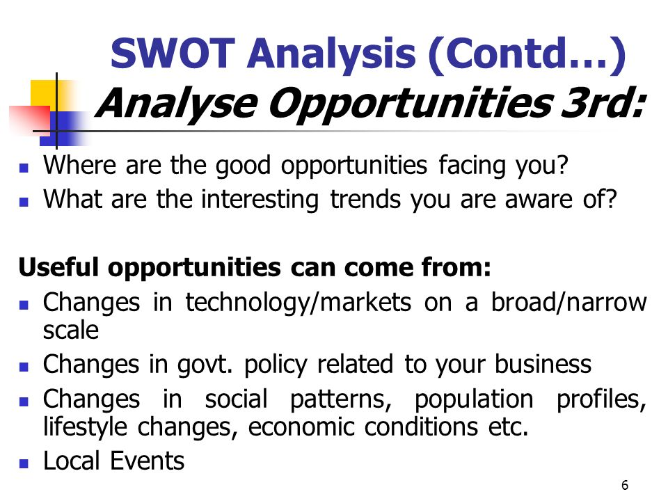 SWOT Analysis (Contd…) Analyse Opportunities 3rd: