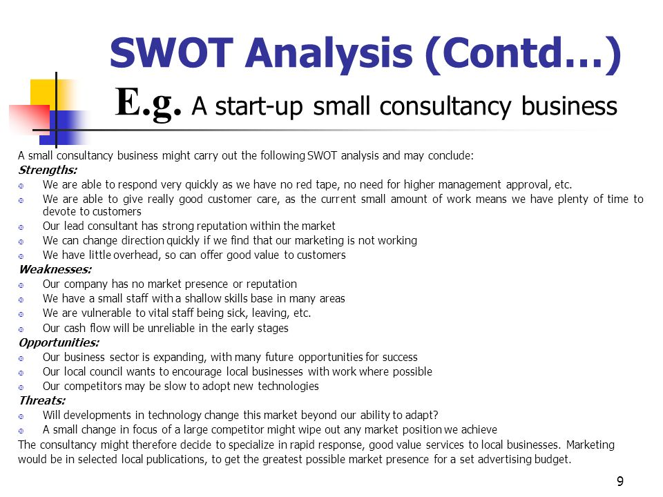 SWOT Analysis (Contd…) E.g. A start-up small consultancy business
