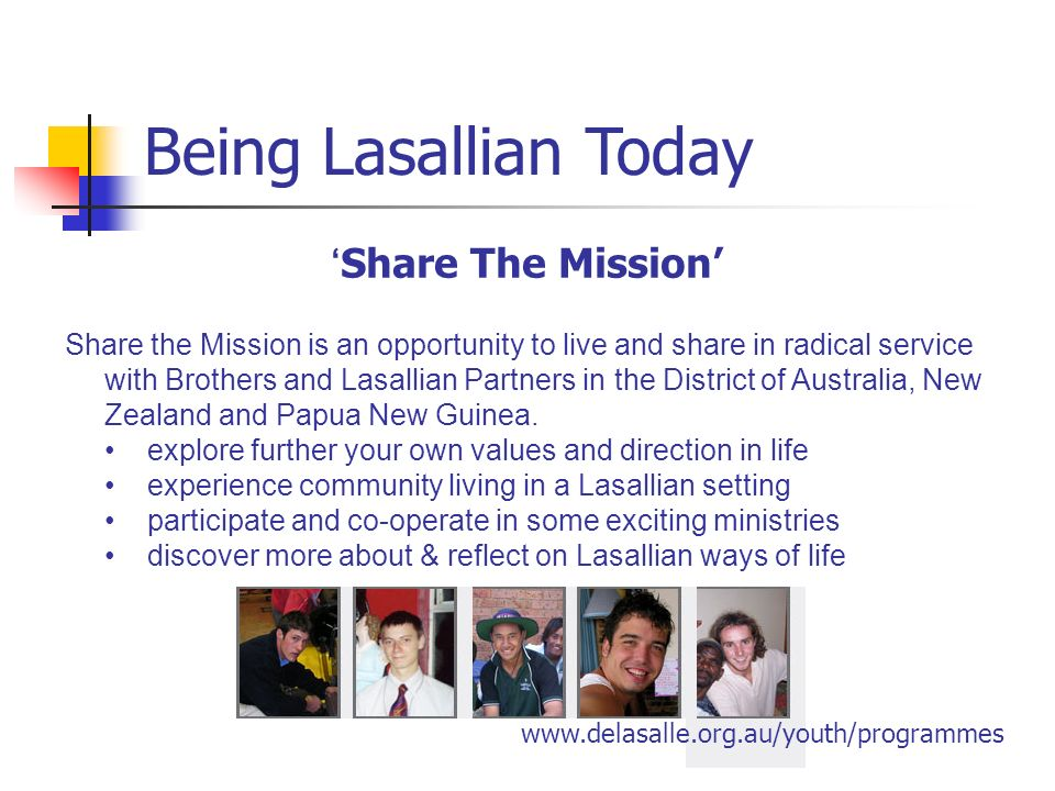 Being Lasallian Today 'Share The Mission'