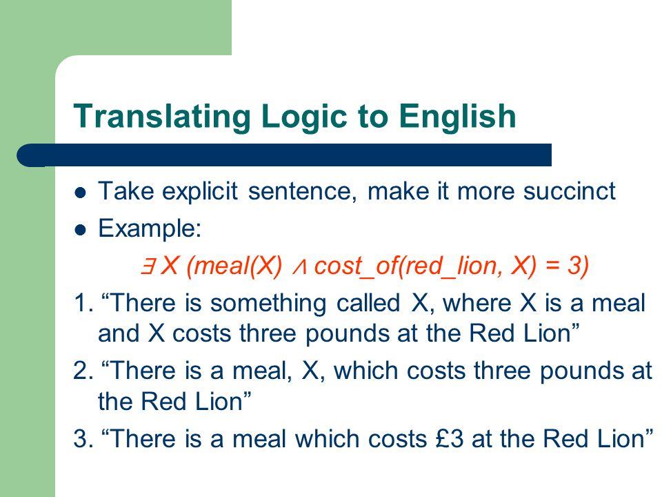 Translating Logic to English