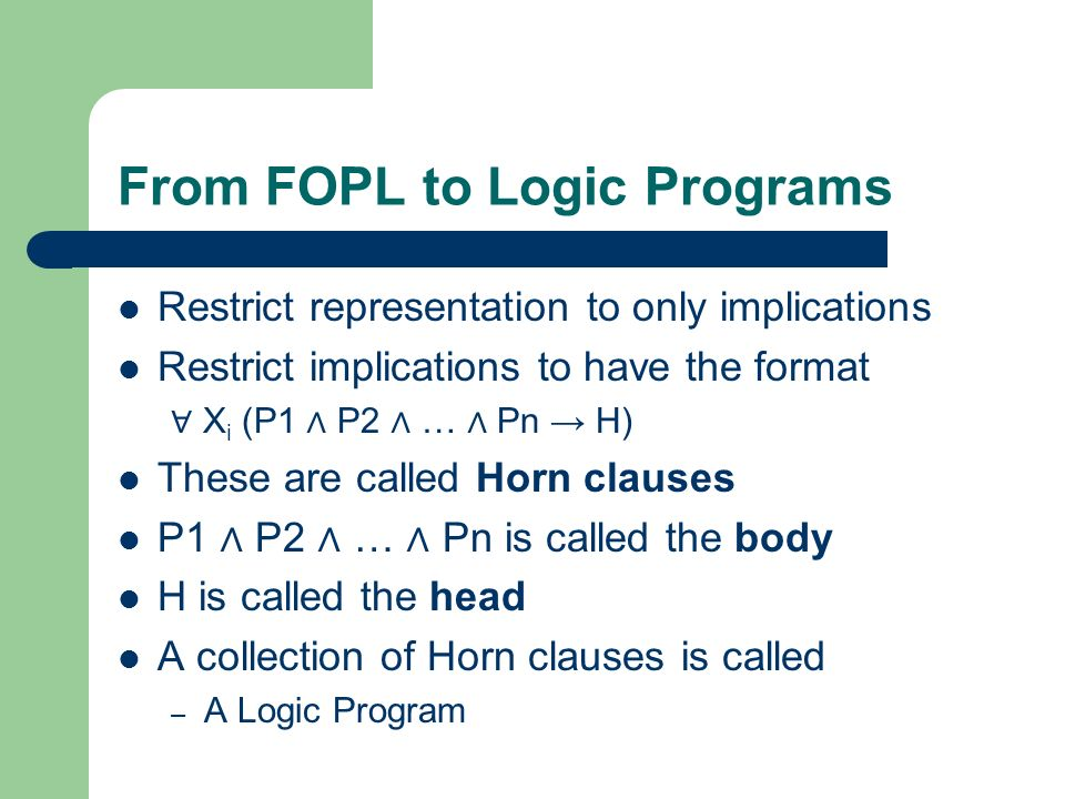 From FOPL to Logic Programs