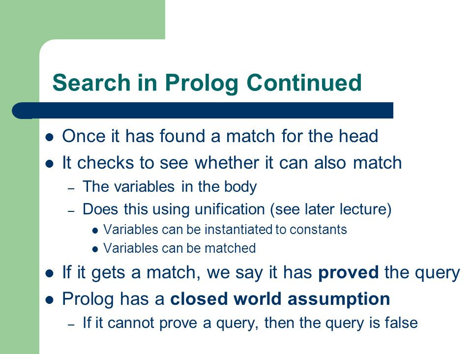 Search in Prolog Continued