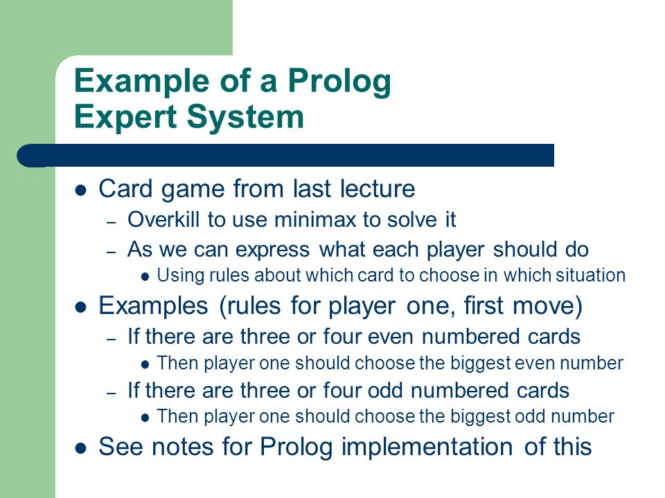 Example of a Prolog Expert System