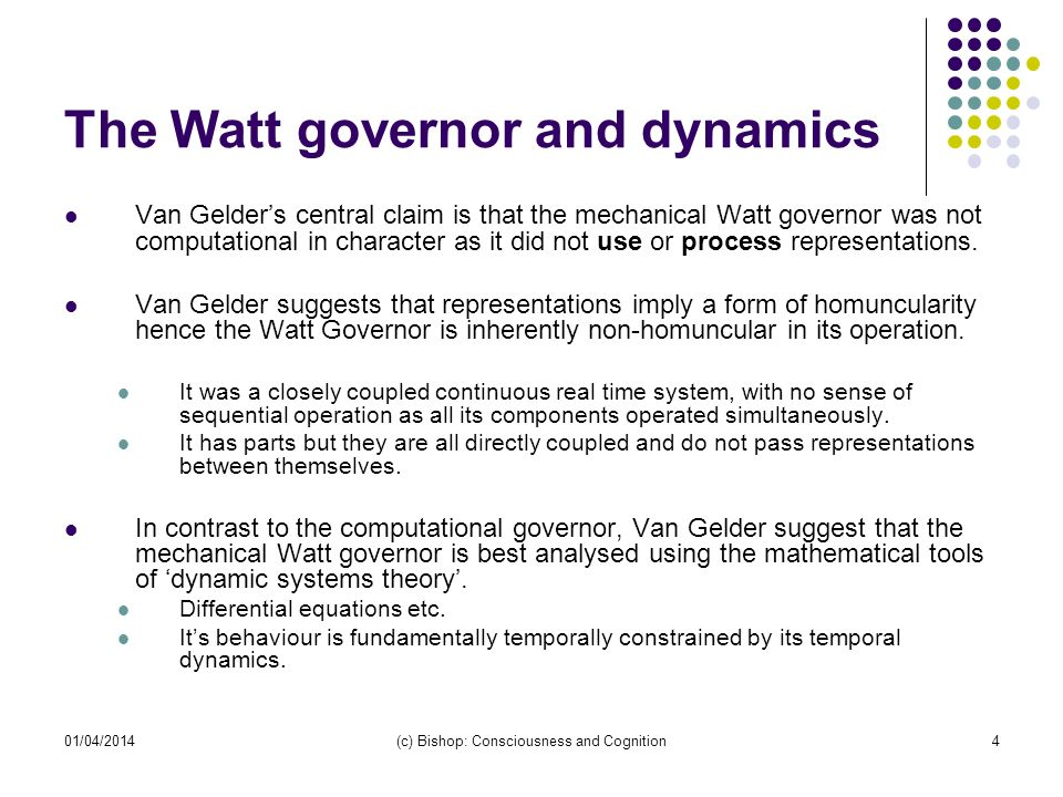 The Watt governor and dynamics