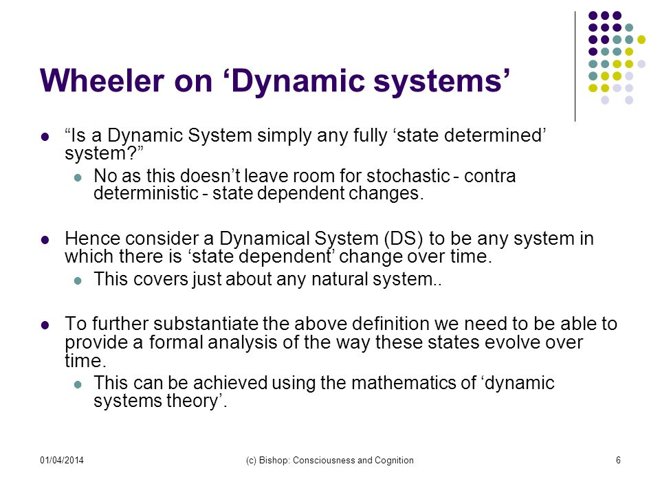 Wheeler on 'Dynamic systems'
