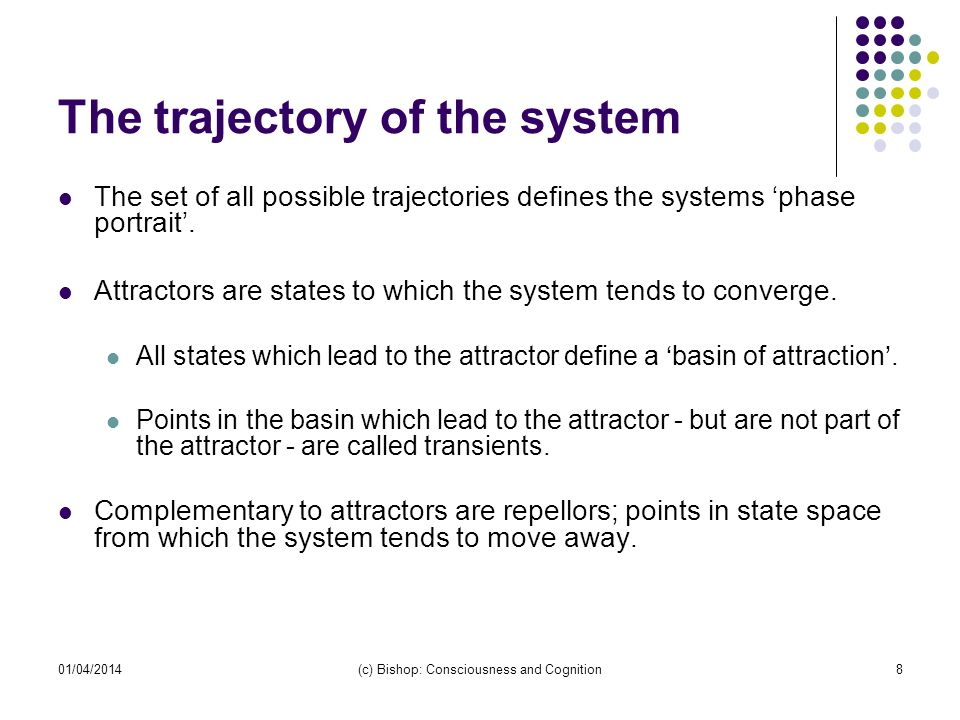 The trajectory of the system