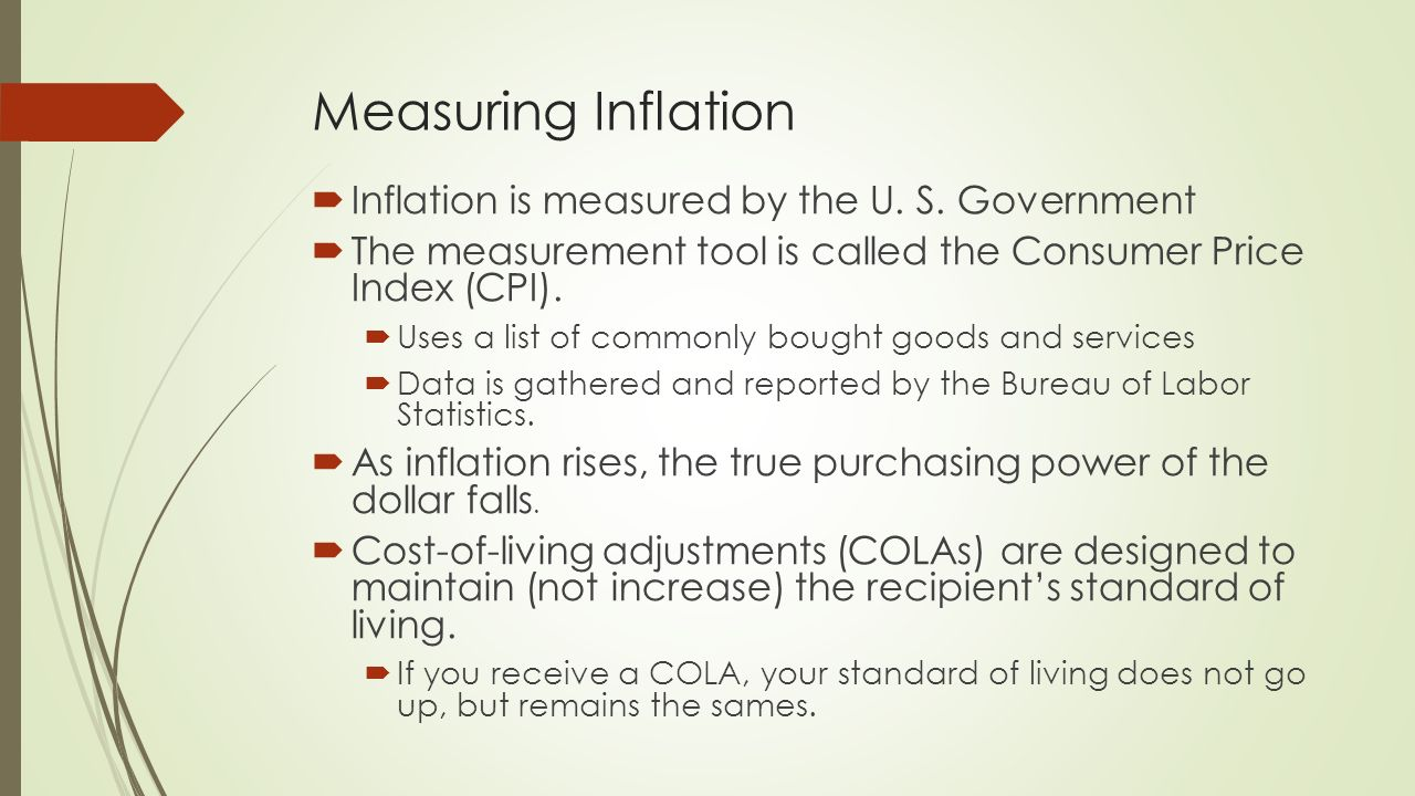 Learning goals explain inflation and how it is measured - Bureau of labor statistics consumer price index ...