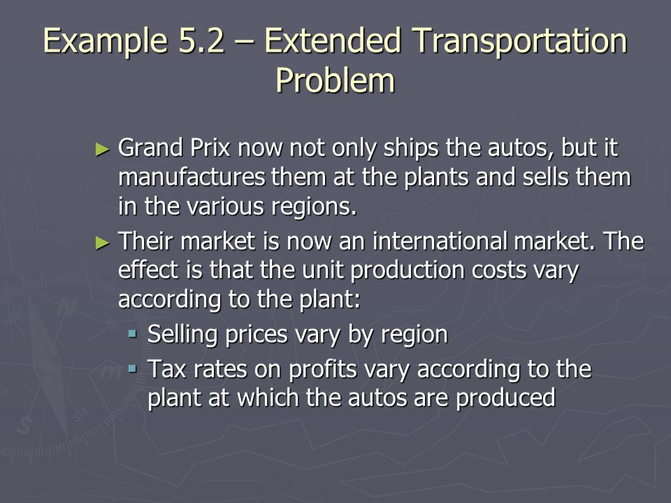 Example 5.2 – Extended Transportation Problem